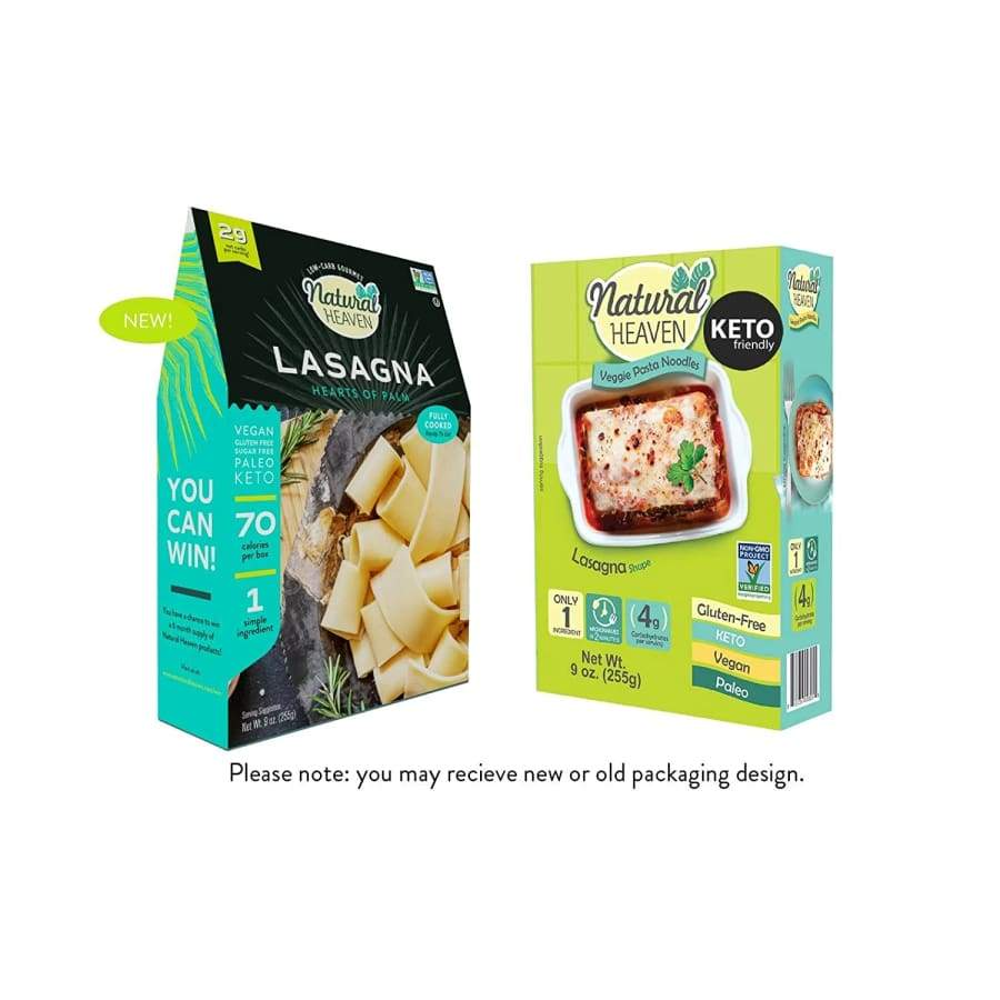 Pasta Substitute Hearts of Palm Noodles by Natural Heaven - Lasagna - One Pack - Pasta