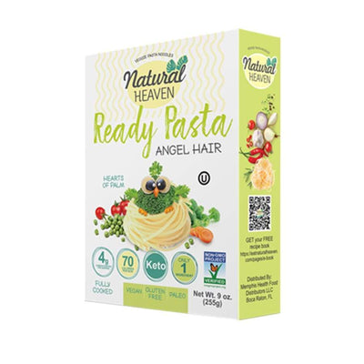 Ready Pasta Angel Hair Hearts of Palm Noodle by Natural Heaven - One Pack - Pasta