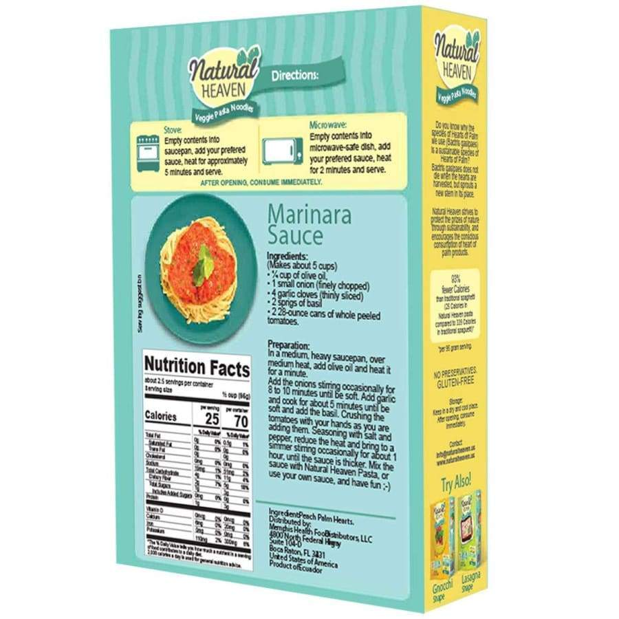 Veggie Pasta Hearts of Palm Noodle by Natural Heaven - Spaghetti - One Pack - Pasta