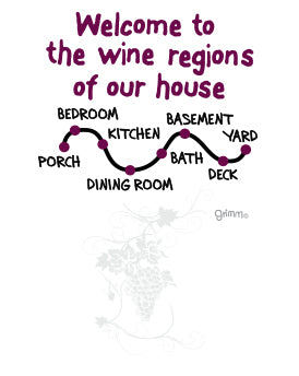 Wine Regions Tea Towel