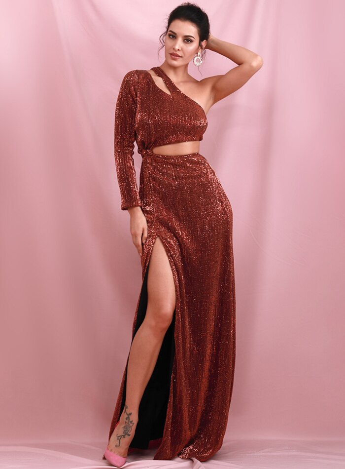Loveless Sequin Gown - Burnt Orage