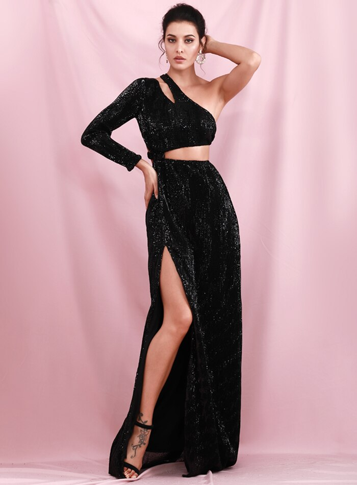 Loveless Sequin Gown - Black