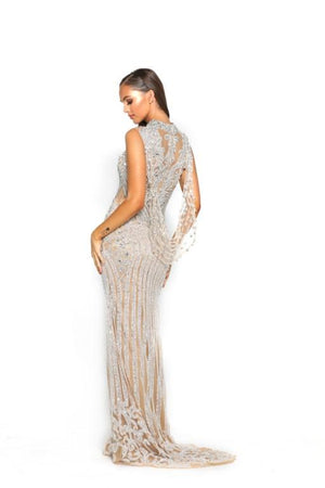 PS3006 SILVER NUDE COUTURE DRESS