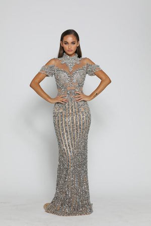PS3019-GUNMETAL-NUDE-COUTURE-DRESS