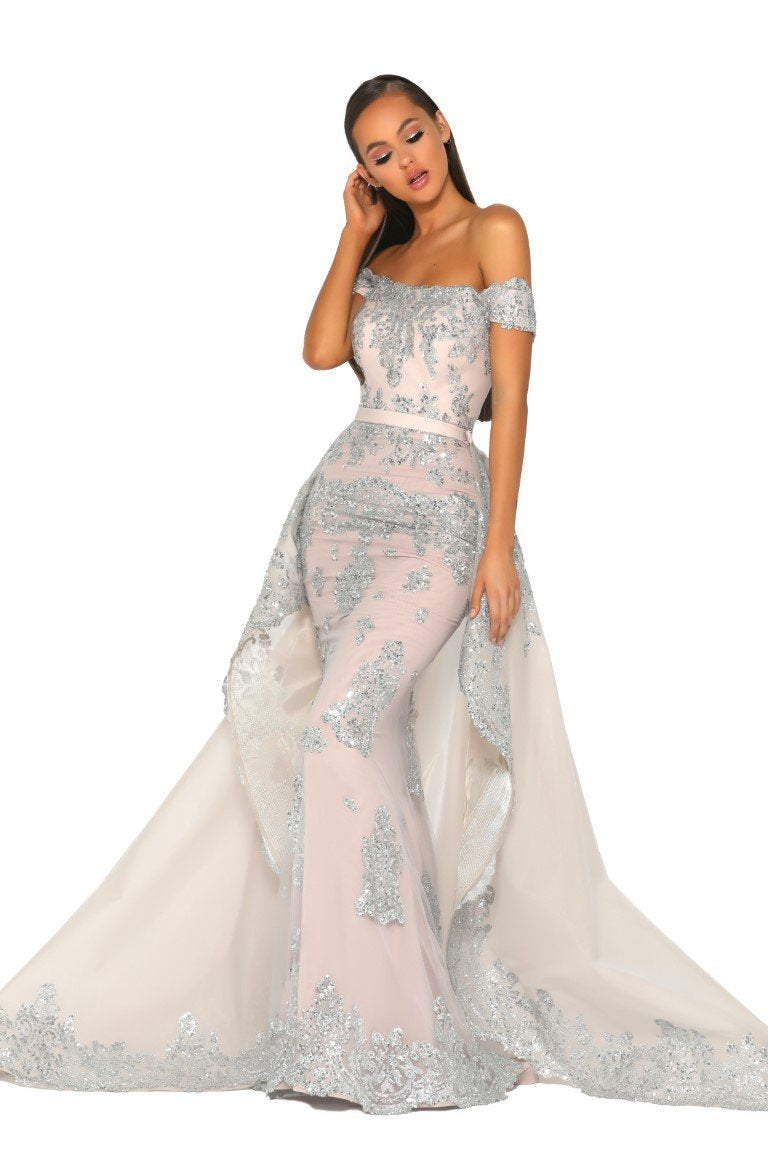 PS5020 GOWN SILVER NUDE