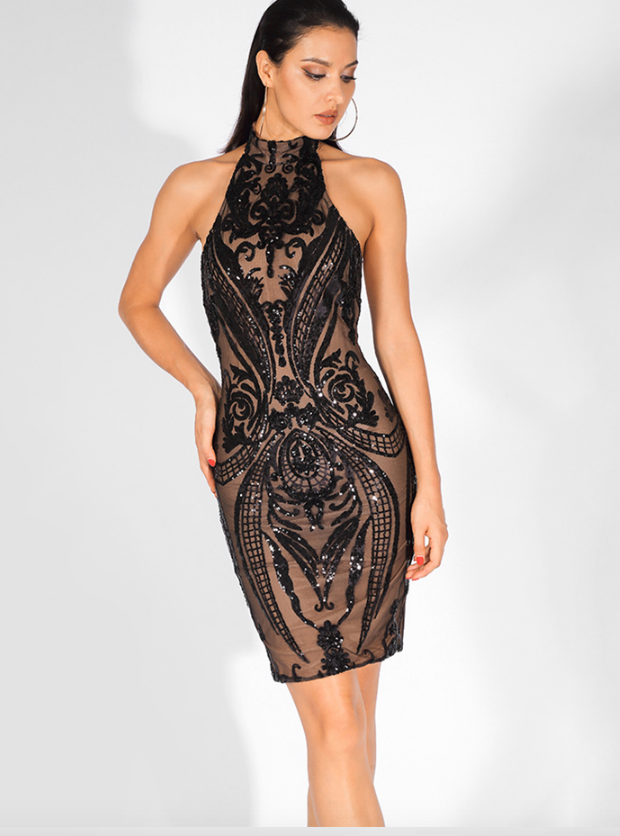 Halo Midi Gown - Black