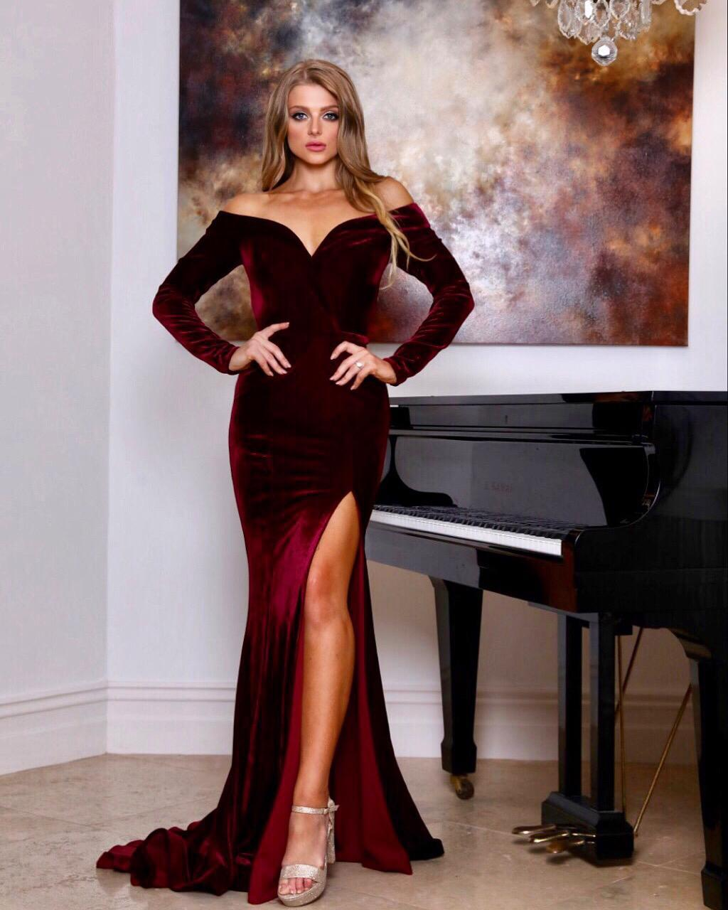 VELVET LONG SLEEVE FORMAL DRESS- Wine Red