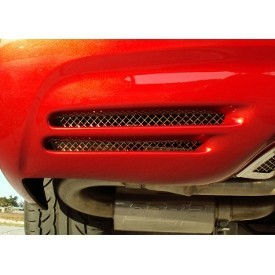 C5/Z06 Corvette Rear Bumper Grilles | 2Pc | Laser Mesh | Polished - [Corvette Store Online]