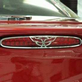 C5 Corvette 5th Brake Light Grille | 1Pc with Crossed Flags | Polished - [Corvette Store Online]