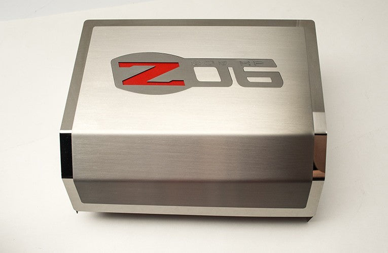 c6 z06 corvette | fuse box cover | brushed/polished | z06 logo - [
