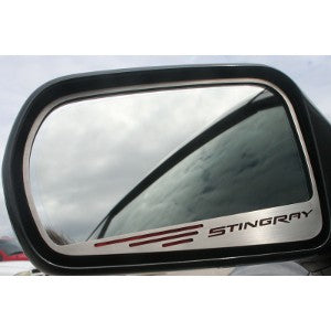 C7 Corvette Stingray | 2pc | Side View Mirror Trim | Stingray Lettering - [Corvette Store Online]