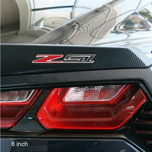 C7 Z51 Corvette Stingray | Carbon Fiber Look w/Chrome Trim Domed Emblem - [Corvette Store Online]