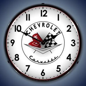 1956- 57 Corvette Wall Lighted Clock - [Corvette Store Online]