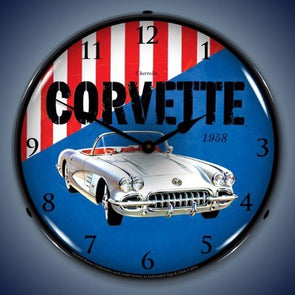 1958 Corvette Lighted Wall Clock - [Corvette Store Online]