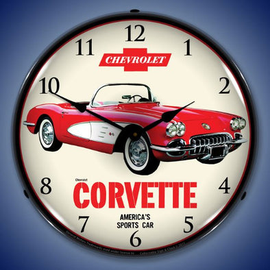 1959 Chevrolet Corvette Lighted Wall Clock - [Corvette Store Online]
