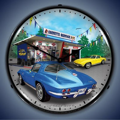 1963 Corvette Lighted Wall Clock - [Corvette Store Online]
