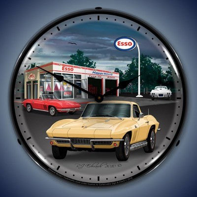 1965 Corvette Lighted Wall Clock - [Corvette Store Online]