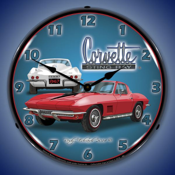 1967 Corvette Stingray Lighted Clock Profile - [Corvette Store Online]