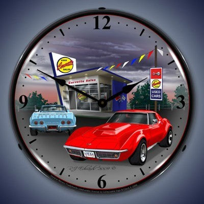 1968 Corvette Lighted Wall Clock - [Corvette Store Online]