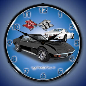 1971 Corvette Stingray Black Lighted Wall Clock - [Corvette Store Online]