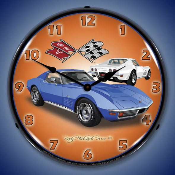 1971 Corvette Stingray Blue Lighted Wall Clock - [Corvette Store Online]