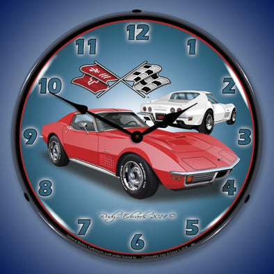 1971 Corvette Stingray Red Lighted Wall Clock - [Corvette Store Online]