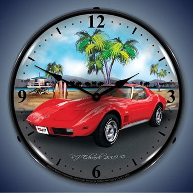 1973 Corvette Lighted Wall Clock - [Corvette Store Online]