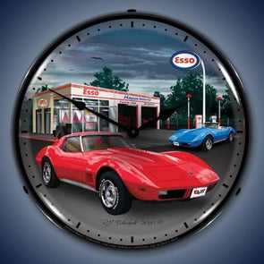 1974 Corvette Lighted Wall Clock - [Corvette Store Online]