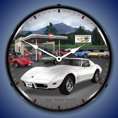 1976 Corvette Lighted Wall Clock - [Corvette Store Online]