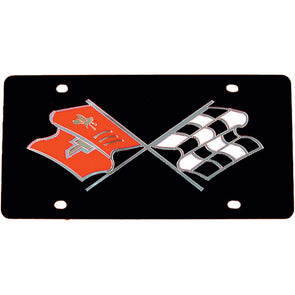 C2 Corvette License Plate, Acrylic With Early Crossed-Flags Logo 1963-1967 - [Corvette Store Online]
