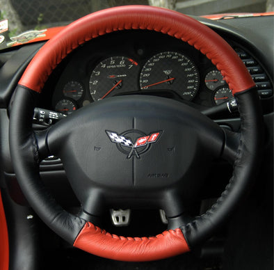 Corvette EuroTone Two Color Leather Steering Cover - [Corvette Store Online]