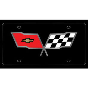 C3 Corvette License Plate | Crossed Flags Logo - [Corvette Store Online]