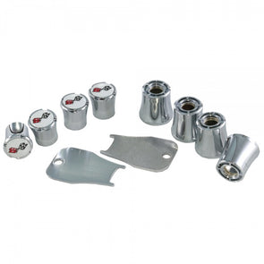 Corvette Valve Stem Cap Set, Crossed-Flags Logo Style, Chrome, 1953-1982 - [Corvette Store Online]