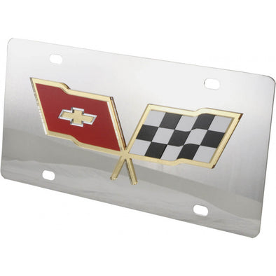 C3 Corvette License Plate, Mirror Style, Gold Outlined Logo, 1968-1982 - [Corvette Store Online]