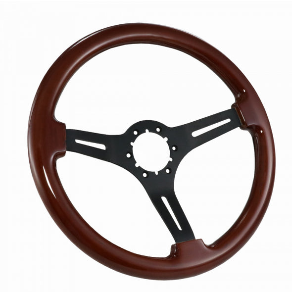 C2/C3 Corvette Steering Wheel, Mahogany With Black Spokes, 1967-1982 - [Corvette Store Online]