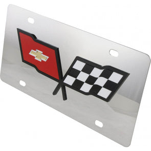 C3 Corvette License Plate, Mirror Style, Black Outlined Logo, 1968-1982 - [Corvette Store Online]