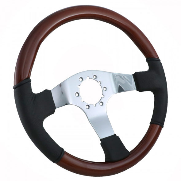 C2/C3 Corvette Steering Wheel, Mahogany/Black Leather, With 3 Chrome Spokes, 1967-1982 - [Corvette Store Online]