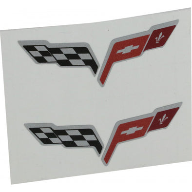 C6 Corvette Crossed Flag Emblem Decals | 2005-2013 - [Corvette Store Online]