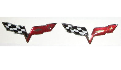 Corvette C6 Chrome Flag 3D Domed Logo Decals 2"