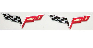 Corvette C6 Silver Flag 3D Domed Logo Decals 2"