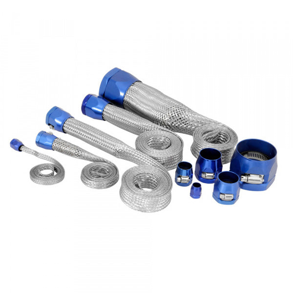 C1 - C6 Corvette Hose Cover Kit Universal | Stainless Steel | Blue Clamps - [Corvette Store Online]