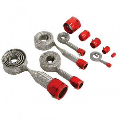 C1 - C6 Corvette K&N Hose Cover Kit, Universal | Stainless Steel | Red Clamps - [Corvette Store Online]