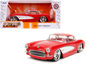 1957 Corvette Red with Red Interior Bigtime Muscle 1/24 Diecast - [Corvette Store Online]
