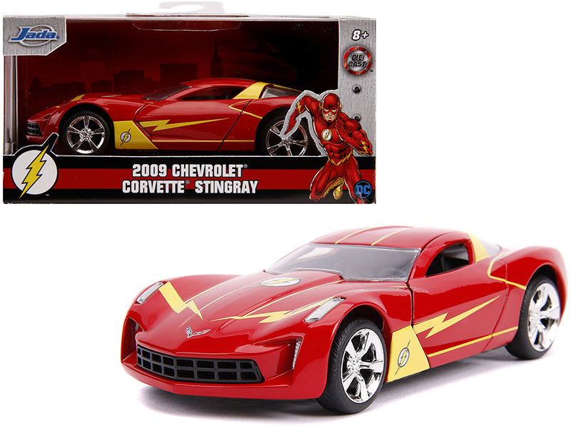 2009 Corvette Stingray Red and Yellow The Flash DC Comics 1/32 Diecast