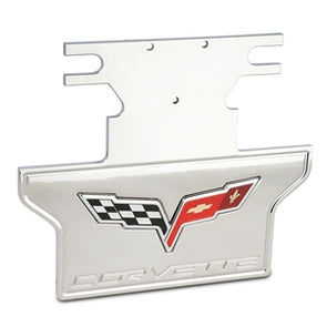 C6 2005-2013 Corvette Exhaust Plate | Billet Chrome | C6 Logo - [Corvette Store Online]