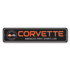 Corvette Sports Street Sign - Aluminum Sign