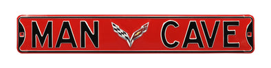 C7 Corvette Man Cave Red Steel Street Sign