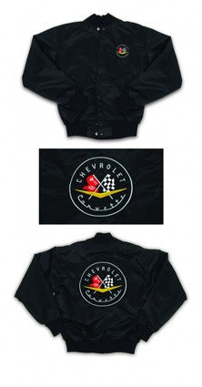 Corvette Satin Jacket, With C1 1956-1957 Logo, Black - [Corvette Store Online]