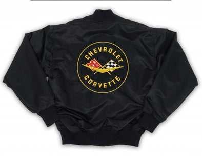 Corvette Satin Jacket, With C1 1958-1962 Logo, Black - [Corvette Store Online]