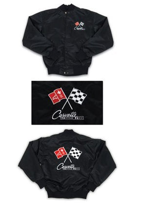 Corvette Satin Jacket, With C2 1963-1965 Logo, Black - [Corvette Store Online]